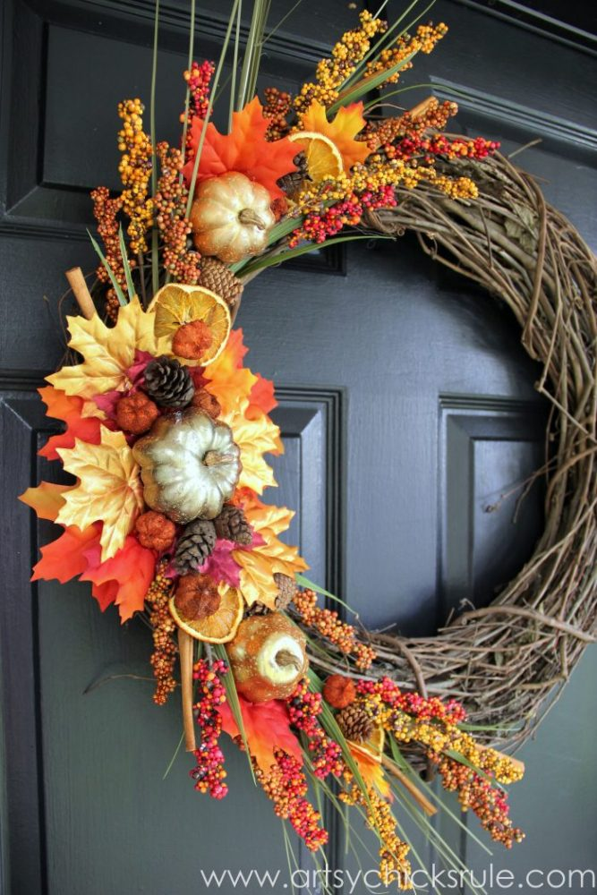 DIY Fall Wreath TRADITIONAL COLORS and SIMPLE to make too! artsychicksrule.com #falldecor #diyfallwreath #traditionalfallwreath #easyfallwreath