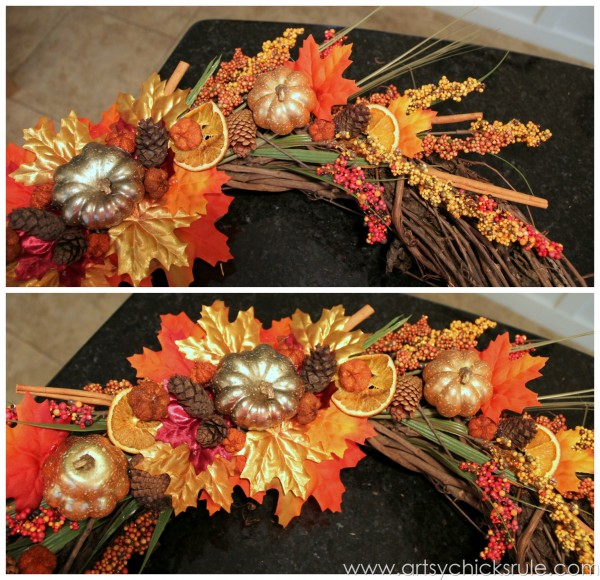 DIY Fall Wreath - Fall Themed Tour - Up Close Detail 1 - #fall #falldecor #diy artsychicksrule.com