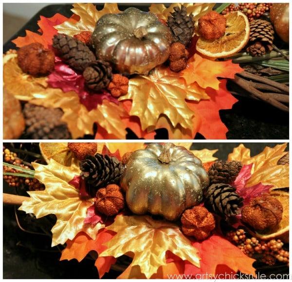 DIY Fall Wreath - Fall Themed Tour - Up Close Detail 2 - #fall #falldecor #diy artsychicksrule.com