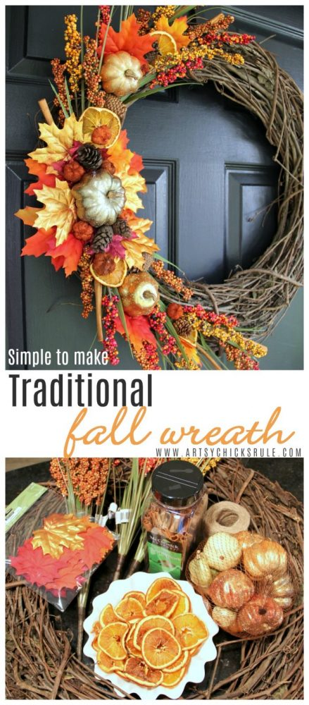 DIY Fall Wreath TRADITIONAL COLORS and SIMPLE to make too! artsychicksrule.com #diyfallwreath #traditionalfallwreath #easyfallwreath