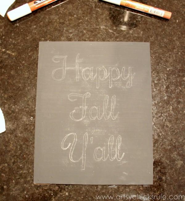 Happy Fall Yall - Chalkboard Art Tutorial - Printable -artsychicksrule.com #chalkboard #art #sign #falldecor (4)