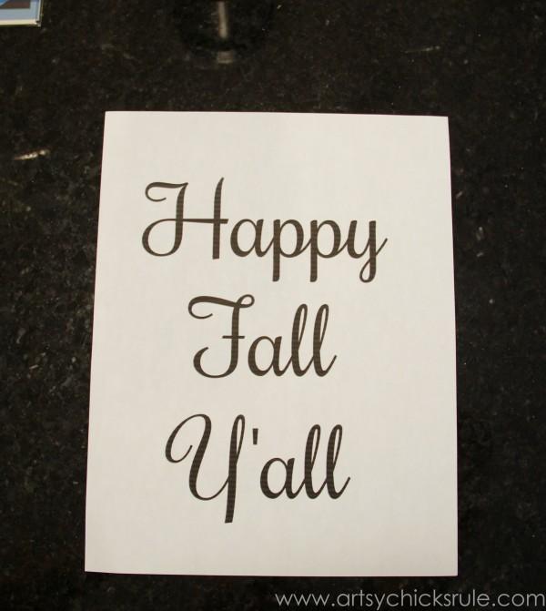 Happy Fall Yall - Chalkboard Art Tutorial - Printable -artsychicksrule.com #chalkboard #art #sign #falldecor