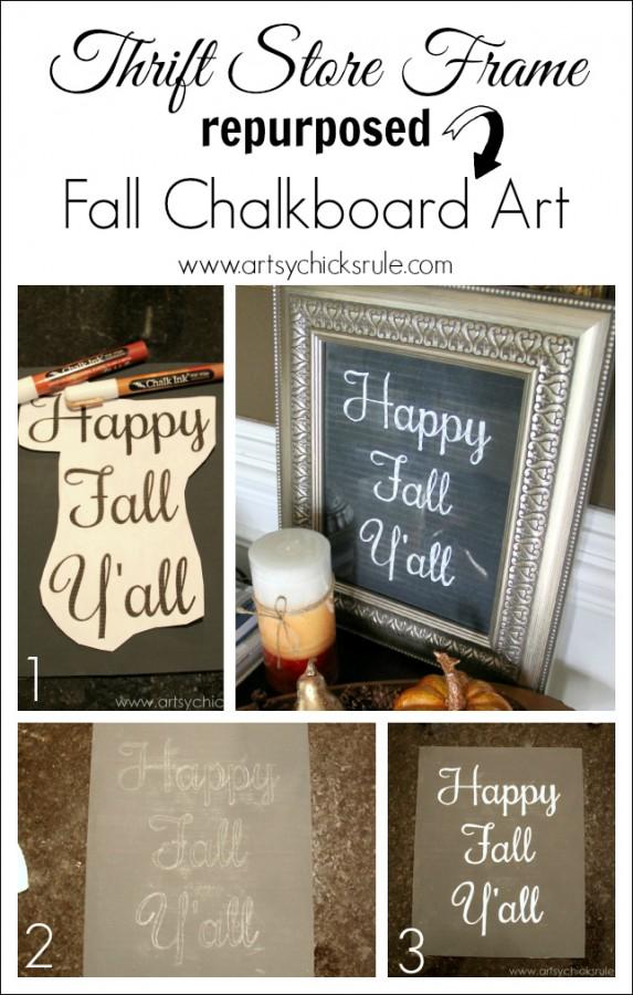 Happy Fall Yall - Chalkboard Art Tutorial - Steps -artsychicksrule.com #chalkboard #art #sign #falldecor