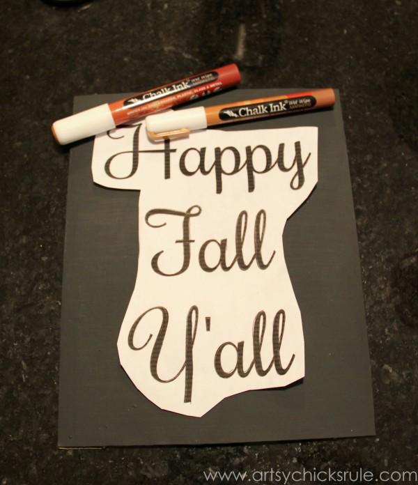 Happy Fall Yall - Chalkboard Art Tutorial - Transfer -artsychicksrule.com #chalkboard #art #sign #falldecor