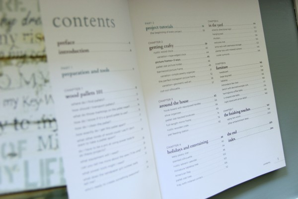 DIY Wood Pallet Book Review - Contents
