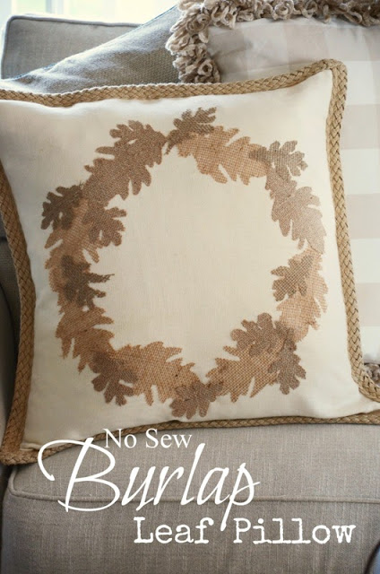 NO SEW FALL LEAF PILLOW -stonegableblog