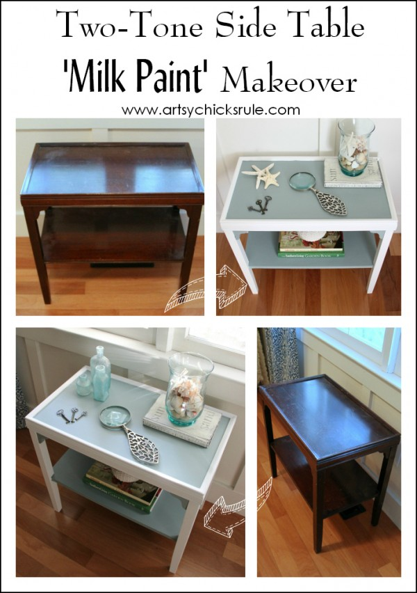 Two Tone Side Table - Before and After - General Finishes - artsychicksrule.com #milkpaint #makeover #diy #persianblue #snowwhite