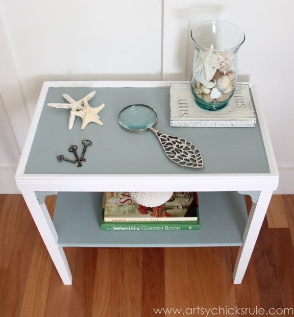 Two Tone Side Table Makeover - Themed Furniture Tour - artsychicksrule.com #milkpaint #makeover #diy (2)