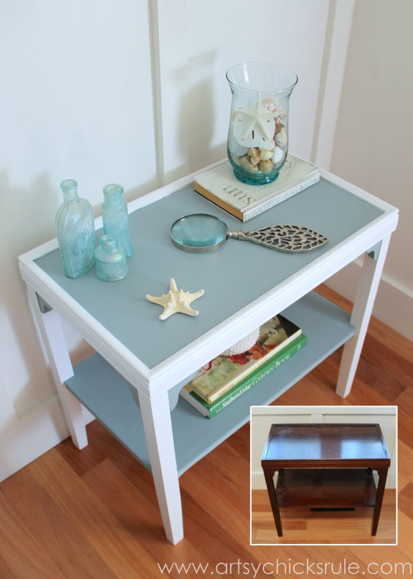 Two Tone Side Table Makeover - Themed Furniture Tour - artsychicksrule.com #milkpaint #makeover #diy (3)