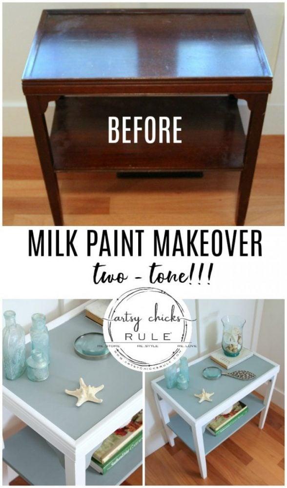 MILK PAINT Makeover - Two Tone!! artsychicksrule.com #milkpaint #milkpaintmakeover #milkpaintfurniture