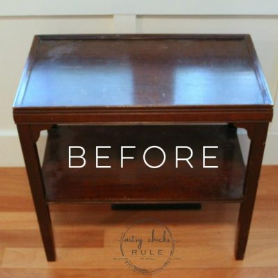 Two Tone Side Table Milk Paint Makeover {themed tour}