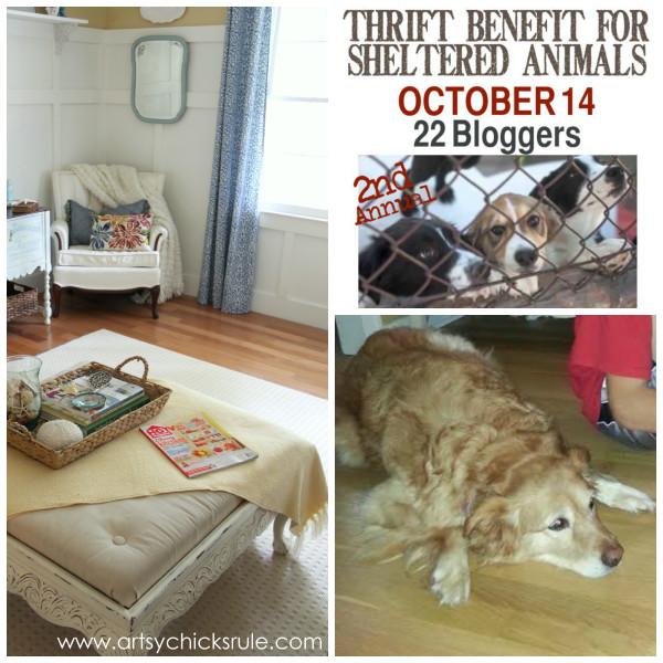 Animal Thrift Benefit - artsychicksrule.com #dogs #shelters #newrug