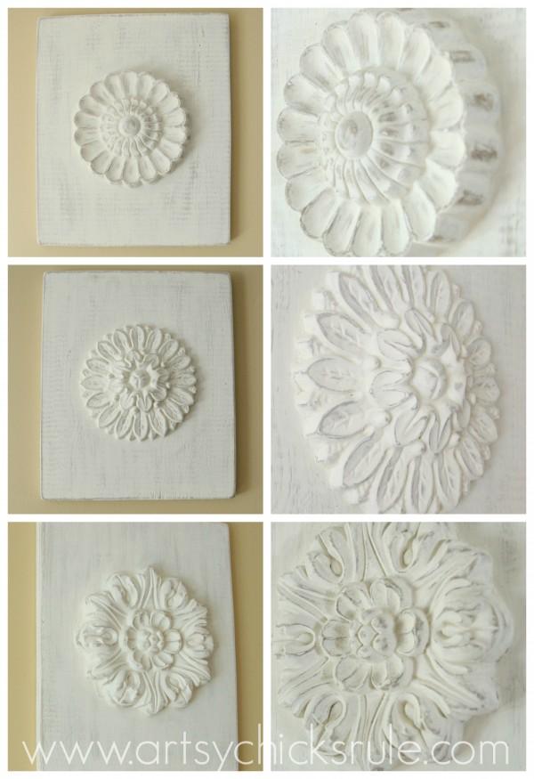 Fancy DIY Carved Medallion inspired by Ballard Designs Up close detail artsychicksrule