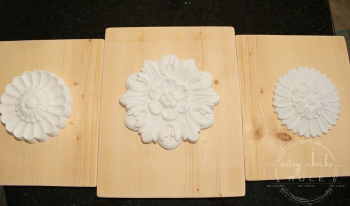 "SIMPLE Way To Create ""Carved Look"" Wood Medallions! Inexpensive Home Decor You Can Make! artsychicksrule.com #woodmedallions #diyhomedecor #chalkpaint #ascp #chalkpaintprojects #knockoff #knockoffdecor #handcarvedwood #diydecor"