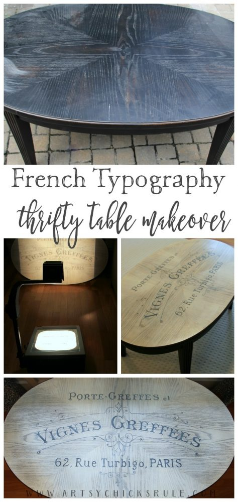 So EASY!! French Typography Coffee Table Makeover - After - artsychicksrule.com #milkpaint #chalkpaint #french #typography