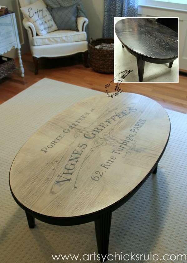 French Typography Coffee Table Makeover - Before After - artsychicksrule.com #milkpaint #chalkpaint #french #typography