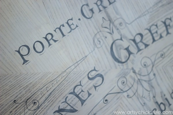 French Typography Coffee Table Makeover - Close Up - artsychicksrule.com #milkpaint #chalkpaint #french #typography