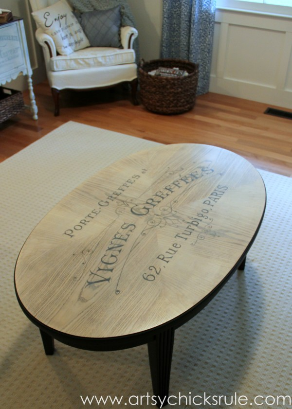 French Typography Coffee Table Makeover - Coffee Table - artsychicksrule.com #milkpaint #chalkpaint #french #typography