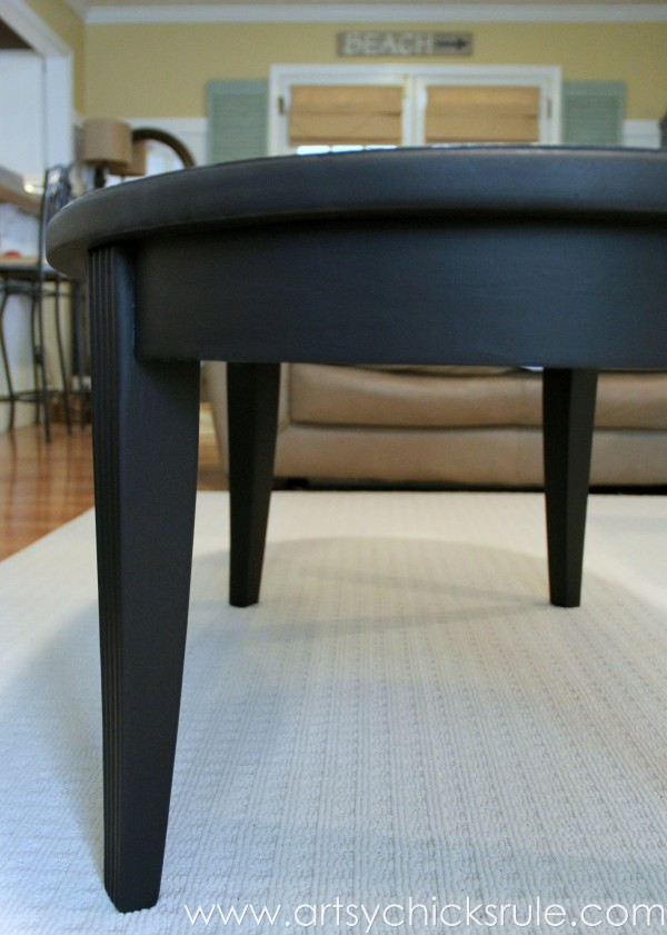 French Typography Coffee Table Makeover   Lamp Black Milk Paint    Artsychicksrule.com #milkpaint
