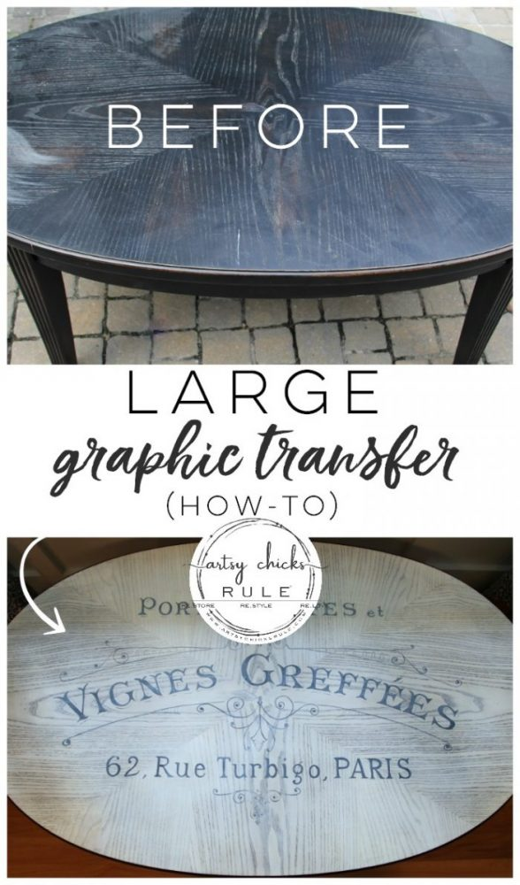 So EASY!! French Typography Coffee Table Makeover - After - artsychicksrule.com #milkpaint #chalkpaint #french #typography #furnituremakeover #transfergraphics #paintedfurniture #frenchgraphic