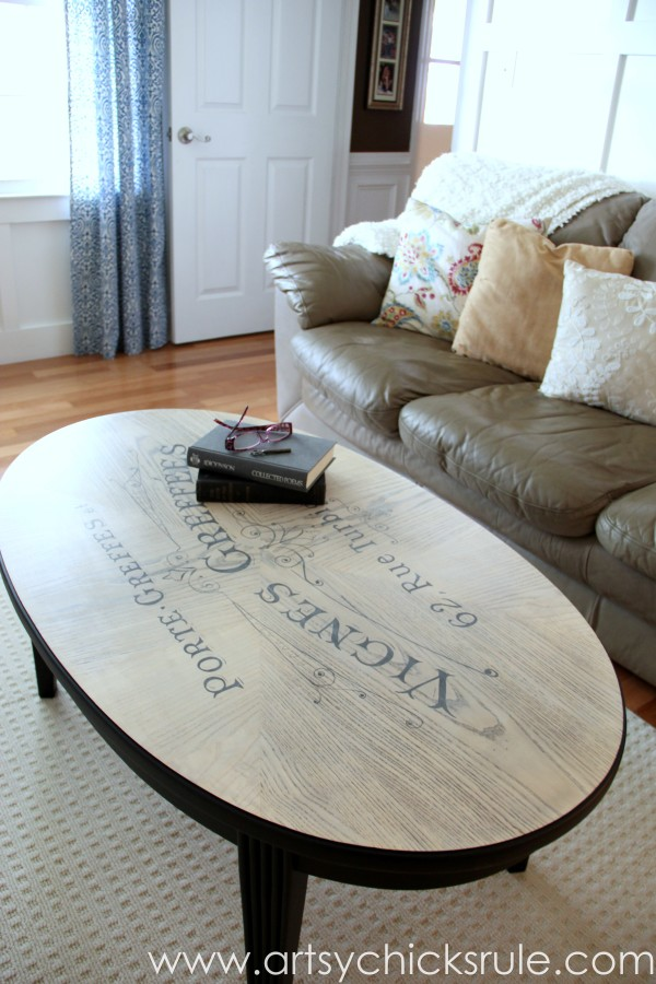 French Typography Coffee Table Makeover - reading books - artsychicksrule.com #milkpaint #chalkpaint #french #typography