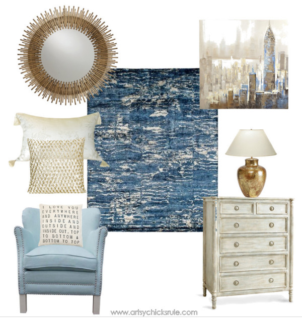 Living Room designed around Kalaty Rugs - Blue & Gold Living Room - Blue Inspira Collection - #ad
