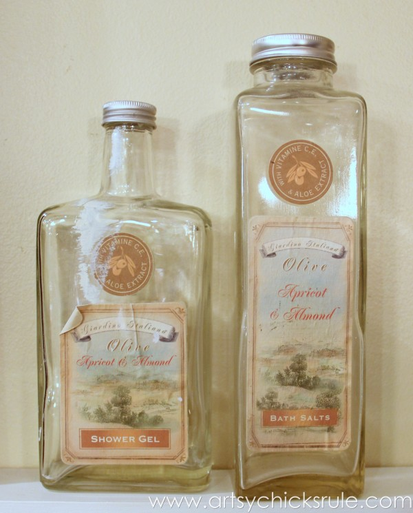 Thrifty Bottle Makeovers {Decoupage & Chalk Paint} - Bottles Before - #decoupage #chalkpaint artsychicksrule.com