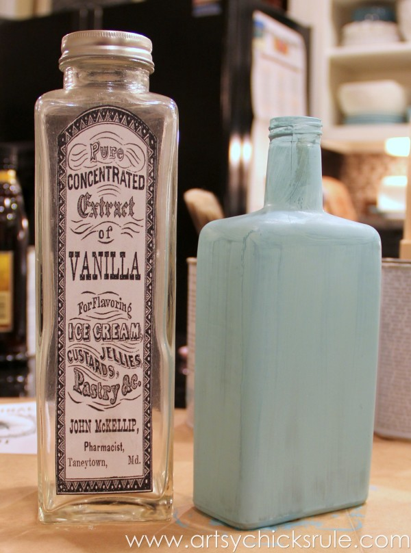 Thrifty Bottle Makeovers {Decoupage & Chalk Paint} - Label Applied and First coat of Chalk Paint - #decoupage #chalkpaint artsychicksrule.com