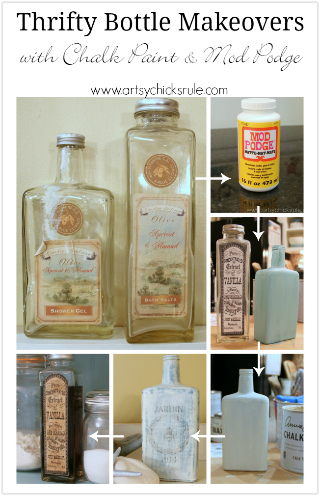 Thrifty Bottle Makeovers Decoupage And Chalk Paint