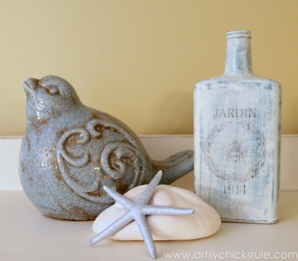 Thrifty Bottle Makeovers {Decoupage & Chalk Paint} - Styled 1 - #decoupage #chalkpaint artsychicksrule.com
