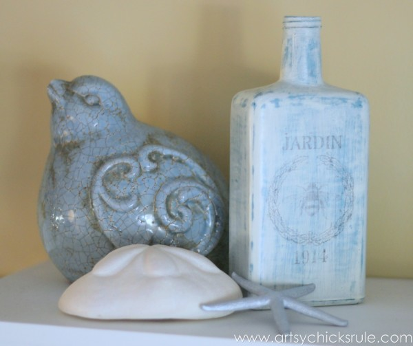 Thrifty Bottle Makeovers {Decoupage & Chalk Paint} - Styled 2 - #decoupage #chalkpaint artsychicksrule.com