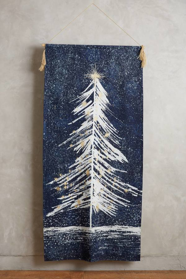 No-Sew DIY Christmas Tree Tapestry - Anthropologie Inspiredartsychicksrule.com #christmastapestry #christmaswallhanging