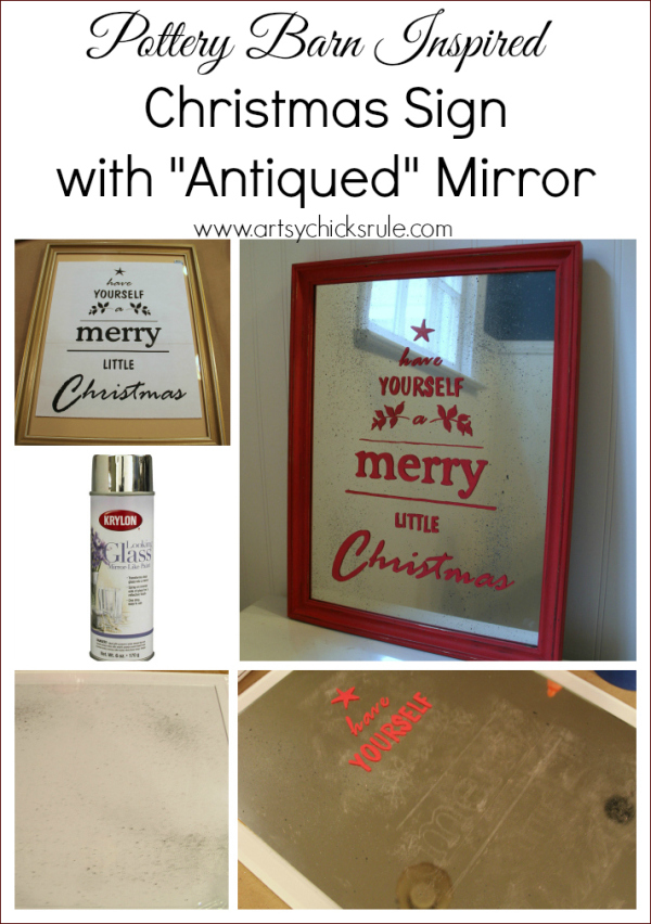 Antique Mirror Tutorial - Pottery Barn Christmas Sign - Easy Tutorial - #antique #potterybarn #diy