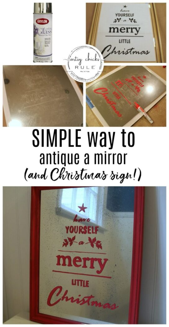 Antique Mirror Tutorial - Pottery Barn Inspired Christmas Sign - Up Close 1 - #howtomakeantiquemirror #antiquemirror #antiquemirrortutorial #merrychristmassign artsychicksrule.com