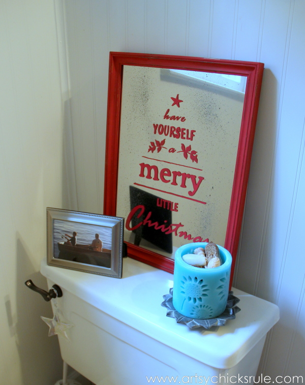 Antique Mirror Tutorial - Pottery Barn Inspired Christmas Sign - Decor - #potterybarn #Christmas #antiquemirror artsychicksrule.com