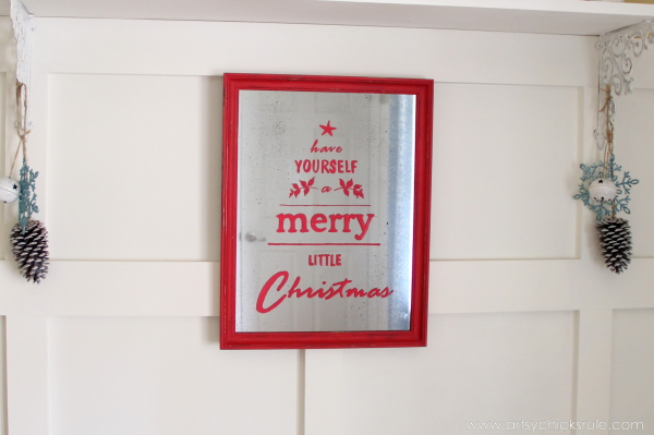 Antique Mirror Tutorial - Pottery Barn Inspired Christmas Sign - Styled - #potterybarn #Christmas #antiquemirror artsychicksrule.com
