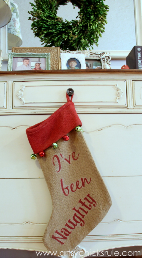 DIY Secret Santa Gift - Naughty Nice Stocking - I've Been Naughty - #diy #holidays #Christmas #transferpaper artsychicksrule.com