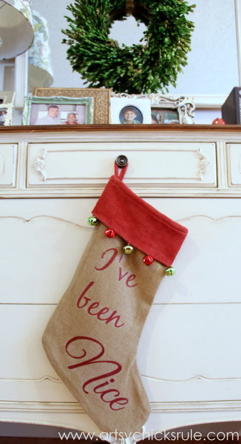 DIY Secret Santa Gift - Naughty Nice Stocking - I've Been Nice - #diy #holidays #Christmas #transferpaper artsychicksrule.com