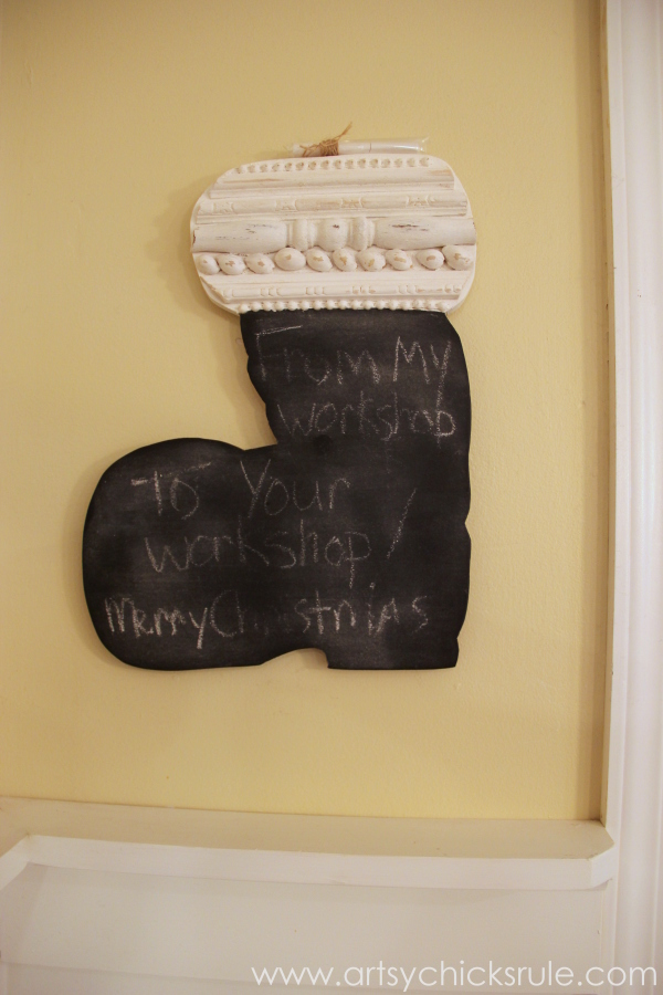 DIY Secret Santa Gift - Naughty Nice Stocking - Santa Boot Chalkboard - #diy #holidays #Christmas #transferpaper artsychicksrule.com