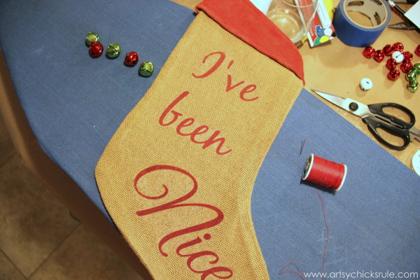 DIY Secret Santa Gift - Naughty Nice Stocking - Sewing on bells - #diy #holidays #Christmas #transferpaper artsychicksrule.com