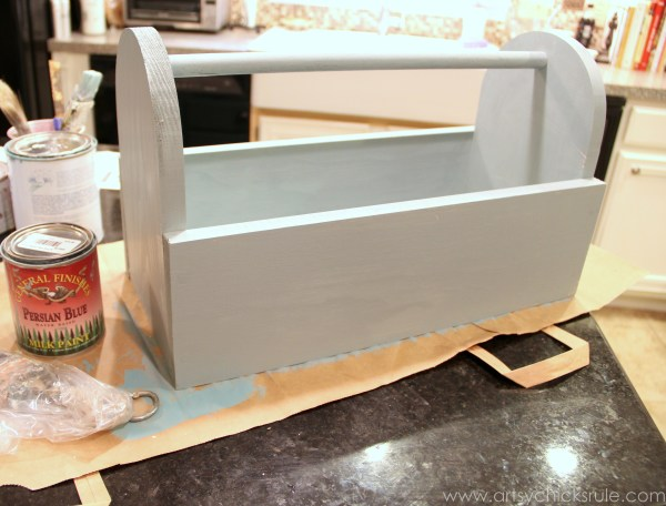Dairy Box {Milk Paint Tool Box} - Persian Blue Milk Paint - artsychicksrule.com #toolbox #milkpaint #generalfinishes #dairybox