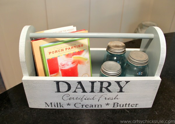 Dairy Box {Milk Paint Tool Box} - Styled Top - artsychicksrule.com #toolbox #milkpaint #generalfinishes #dairybox