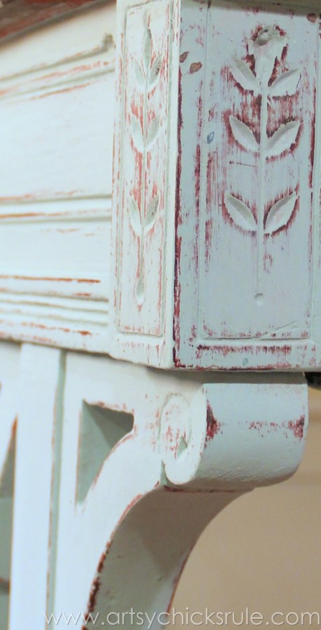 Distressed Old Carved Writing Desk Transformed with Chalk Paint - distressing to the red - #chalkpaint #generalfinishes #javagelstain #makeover artsychicksrule.com