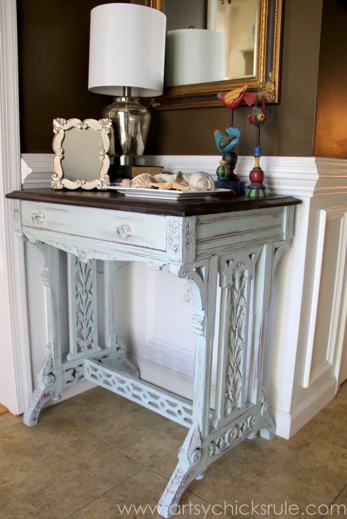 Old Carved Desk Transformed With Chalk Paint Red Theme Tour Artsy Rule