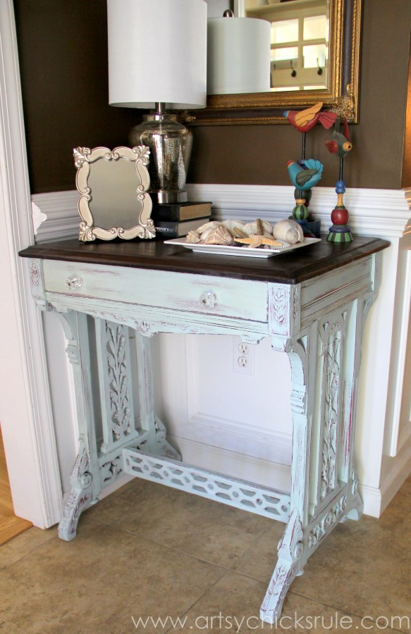 Distressed Old Carved Writing Desk Transformed with Chalk Paint - front side - #chalkpaint #generalfinishes #javagelstain #makeover artsychicksrule.com