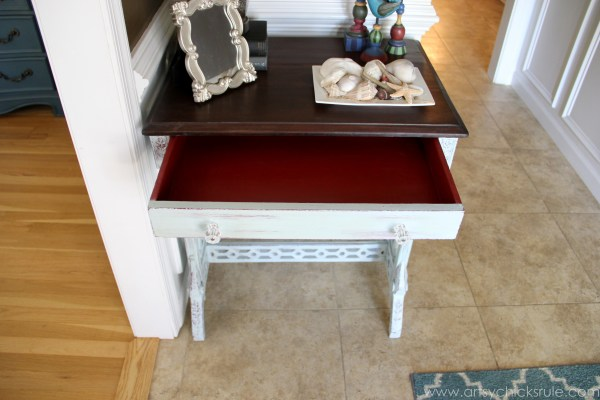 Distressed Old Carved Writing Desk Transformed with Chalk Paint - red drawer - #chalkpaint #generalfinishes #javagelstain #makeover artsychicksrule.com
