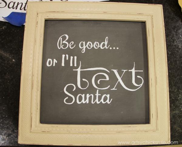 EASY Holiday Chalk Art with Chalk Pens - Be good or I'll text Santa - #chalkart #chalkboard #chalkpen #holidays artsychicksrule.com