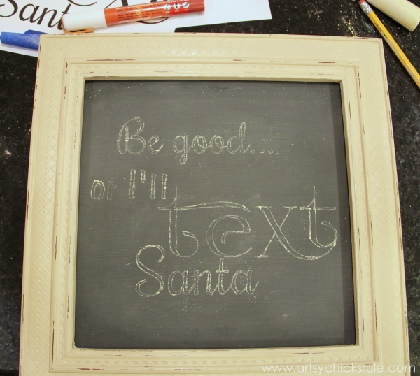 EASY Holiday Chalk Art with Chalk Pens - Graphic Transfer text Santa - #chalkart #chalkboard #chalkpen #holidays artsychicksrule.com