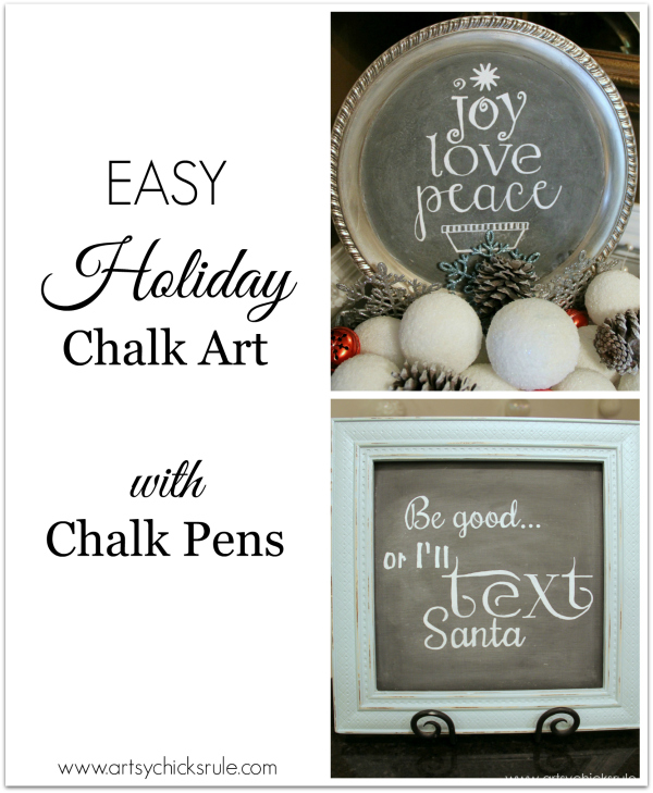 EASY Holiday Chalk Art with Chalk Pens - tutorial - #chalkart #chalkboard #chalkpen #holidays artsychicksrule