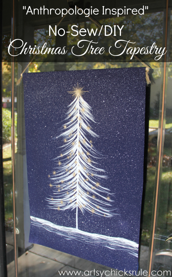 No-Sew DIY Christmas Tree Tapestry - Anthropologie Inspired - Easy DIY -#wallhanging #tapestry #inspiredby #nosew #diy artsychicksrule.com